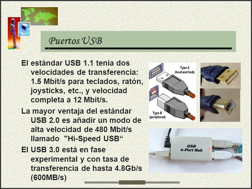 Puertos USB El estándar USB 1.1 tenía dos velocidades de transferencia: 1.5 Mbit/s para teclados, ratón, joysticks, etc., y velocidad completa a 12 Mb