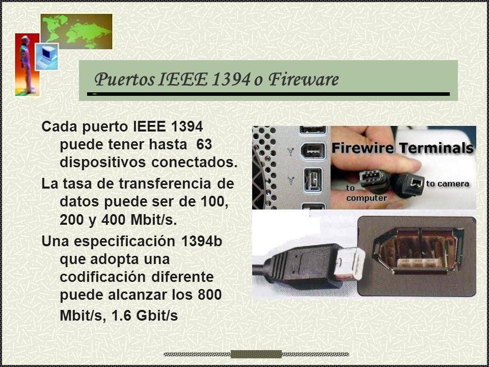 Puertos IEEE 1394 o Fireware Cada puerto IEEE 1394 puede tener hasta 63 dispositivos conectados. La tasa de transferencia de datos puede ser de 100, 2