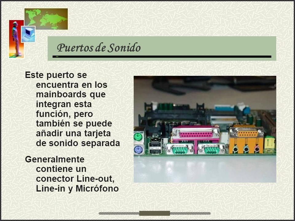 Puertos de Sonido Este puerto se encuentra en los mainboards que integran esta función, pero también se puede añadir una tarjeta de sonido separada Ge