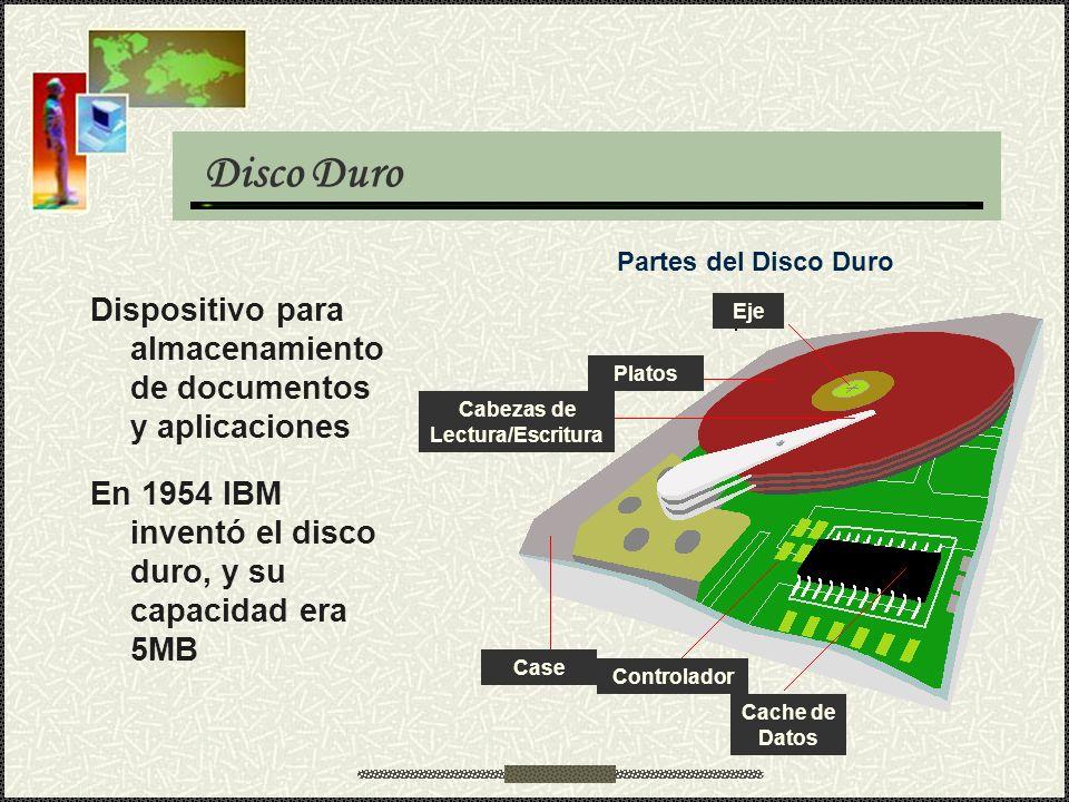 Disco Duro Dispositivo para almacenamiento de documentos y aplicaciones En 1954 IBM inventó el disco duro, y su capacidad era 5MB Platos Eje Cabezas d