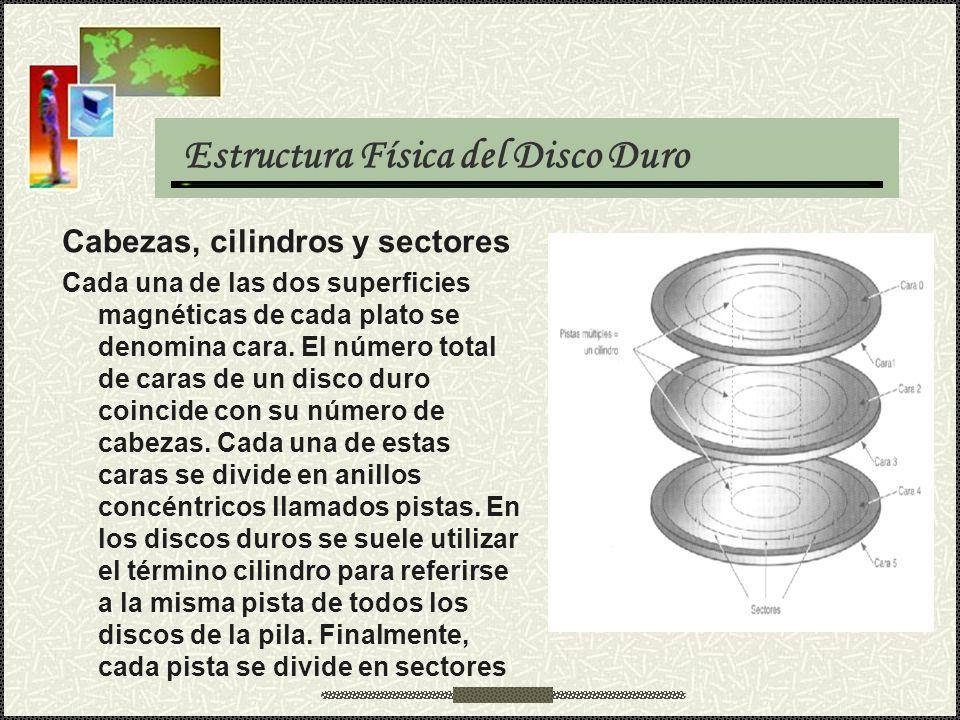 Estructura Física del Disco Duro Cabezas, cilindros y sectores Cada una de las dos superficies magnéticas de cada plato se denomina cara. El número to