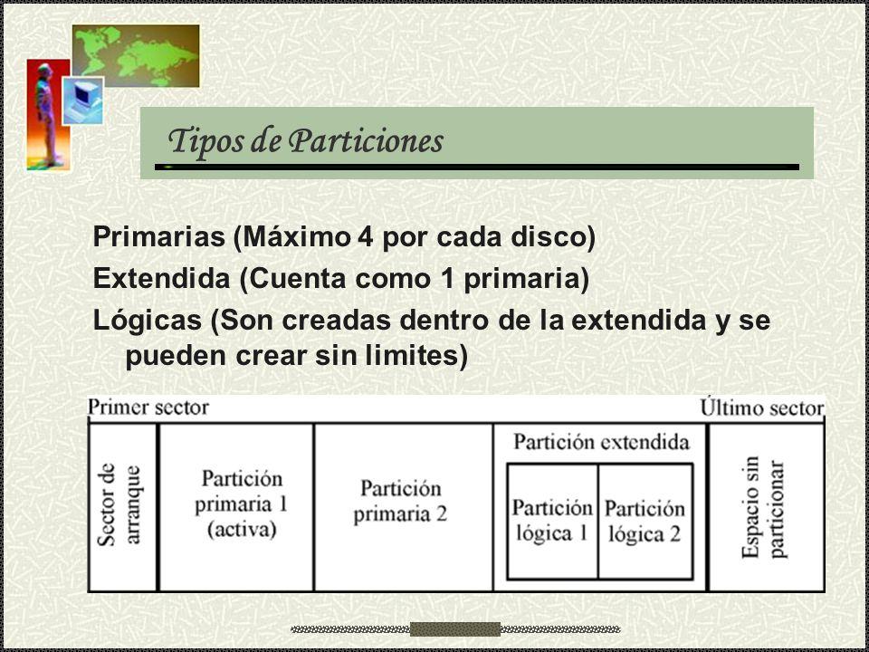 Tipos de Particiones Primarias (Máximo 4 por cada disco) Extendida (Cuenta como 1 primaria) Lógicas (Son creadas dentro de la extendida y se pueden cr