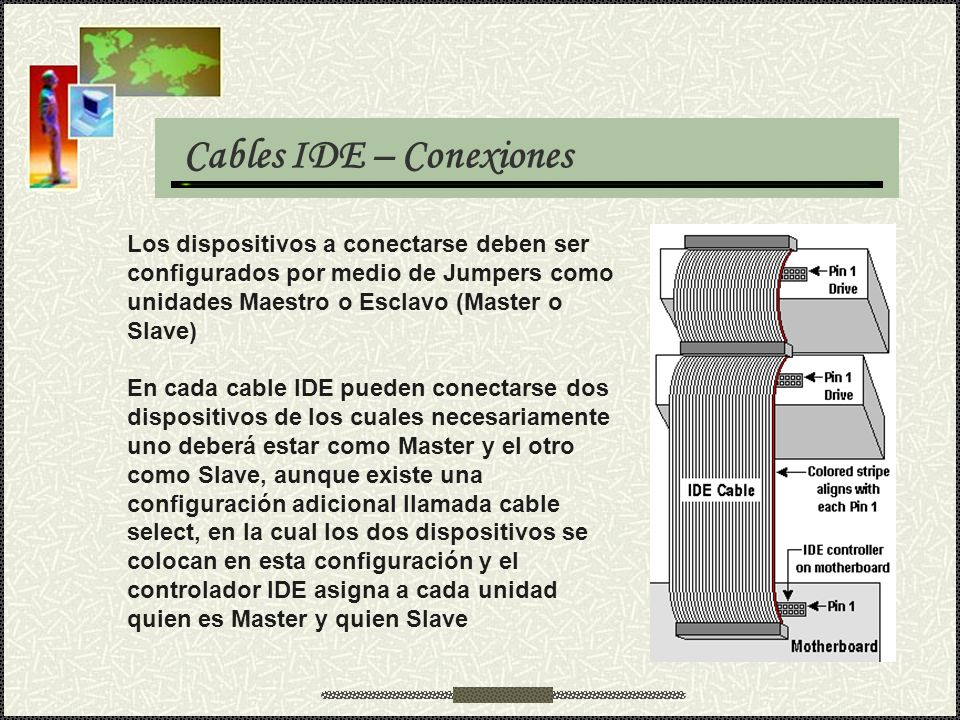 Cables IDE – Conexiones Los dispositivos a conectarse deben ser configurados por medio de Jumpers como unidades Maestro o Esclavo (Master o Slave) En