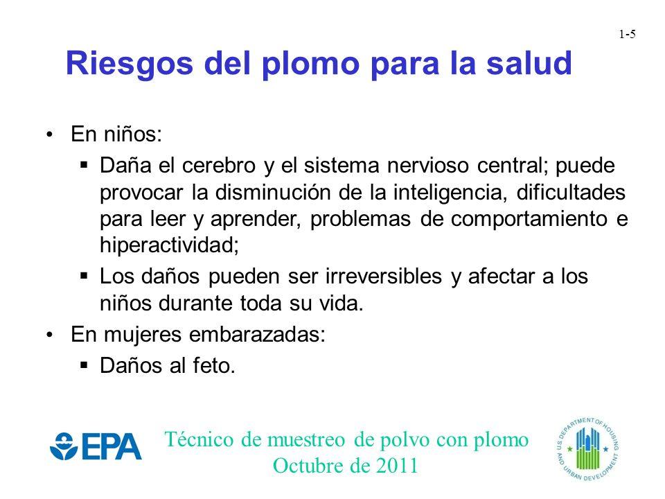Técnico de muestreo de polvo con plomo Octubre de 2011 1-5 Riesgos del plomo para la salud En niños: Daña el cerebro y el sistema nervioso central; pu