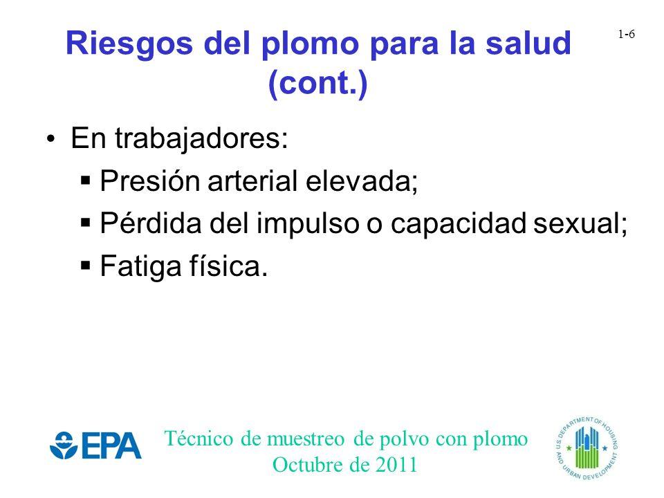 Técnico de muestreo de polvo con plomo Octubre de 2011 1-6 Riesgos del plomo para la salud (cont.) En trabajadores: Presión arterial elevada; Pérdida