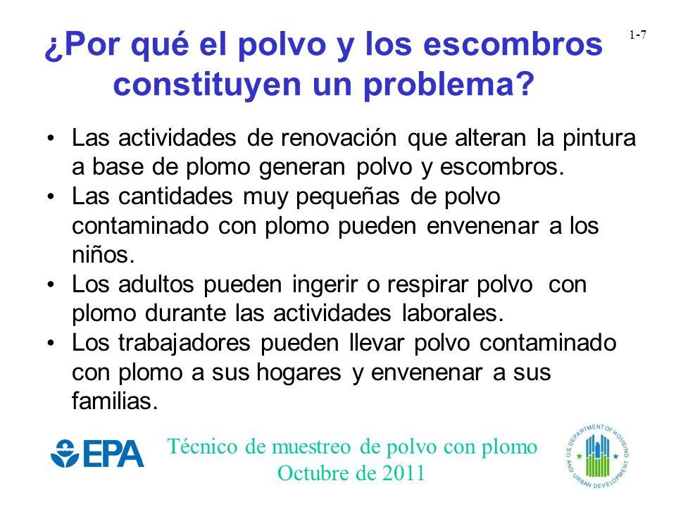 Técnico de muestreo de polvo con plomo Octubre de 2011 1-7 ¿Por qué el polvo y los escombros constituyen un problema? Las actividades de renovación qu
