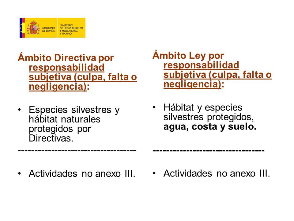 Ámbito Directiva por responsabilidad subjetiva (culpa, falta o negligencia): Especies silvestres y hábitat naturales protegidos por Directivas.