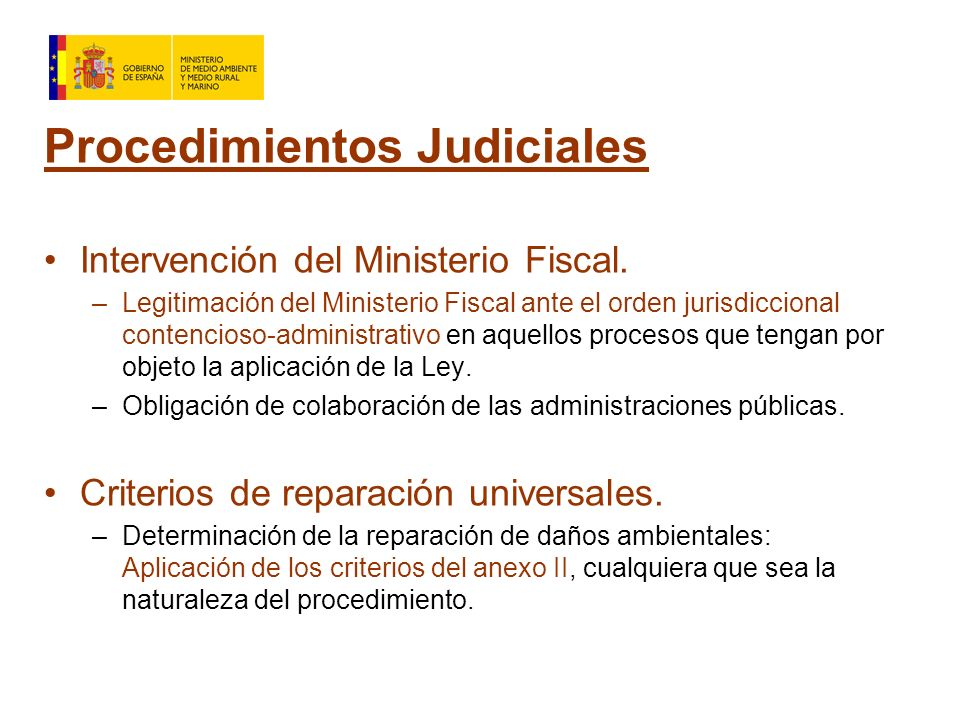 Procedimientos Judiciales Intervención del Ministerio Fiscal.