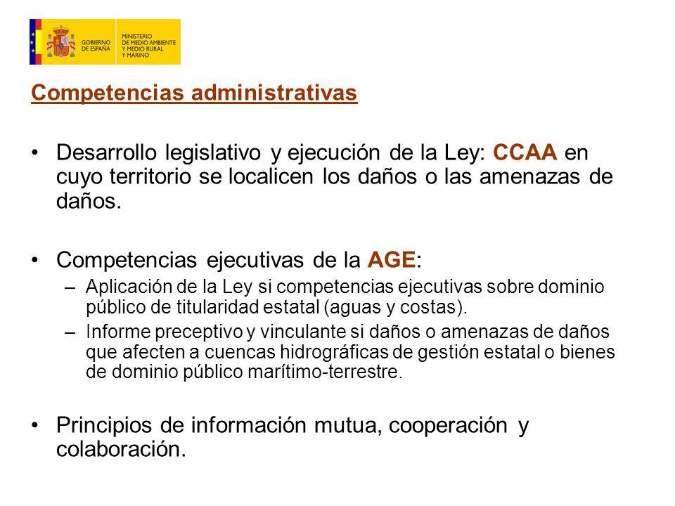 Competencias administrativas Desarrollo legislativo y ejecución de la Ley: CCAA en cuyo territorio se localicen los daños o las amenazas de daños.