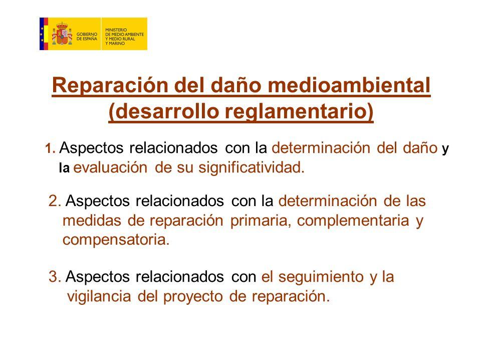 Reparación del daño medioambiental (desarrollo reglamentario) 1.