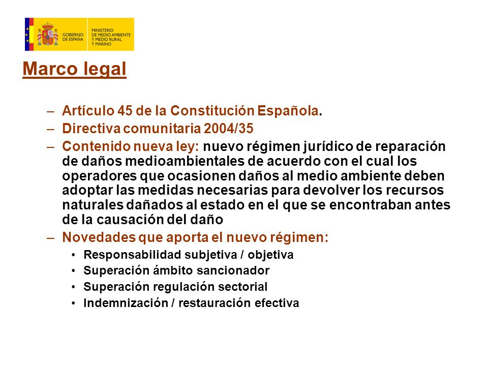 Marco legal –Artículo 45 de la Constitución Española.