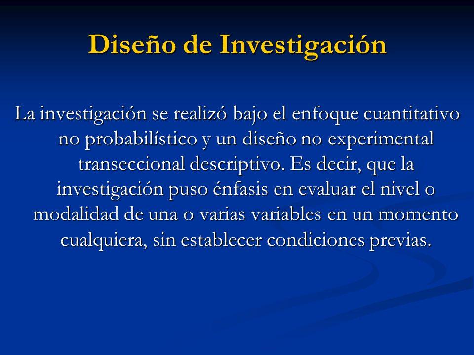 Diseño de Investigación La investigación se realizó bajo el enfoque cuantitativo no probabilístico y un diseño no experimental transeccional descripti