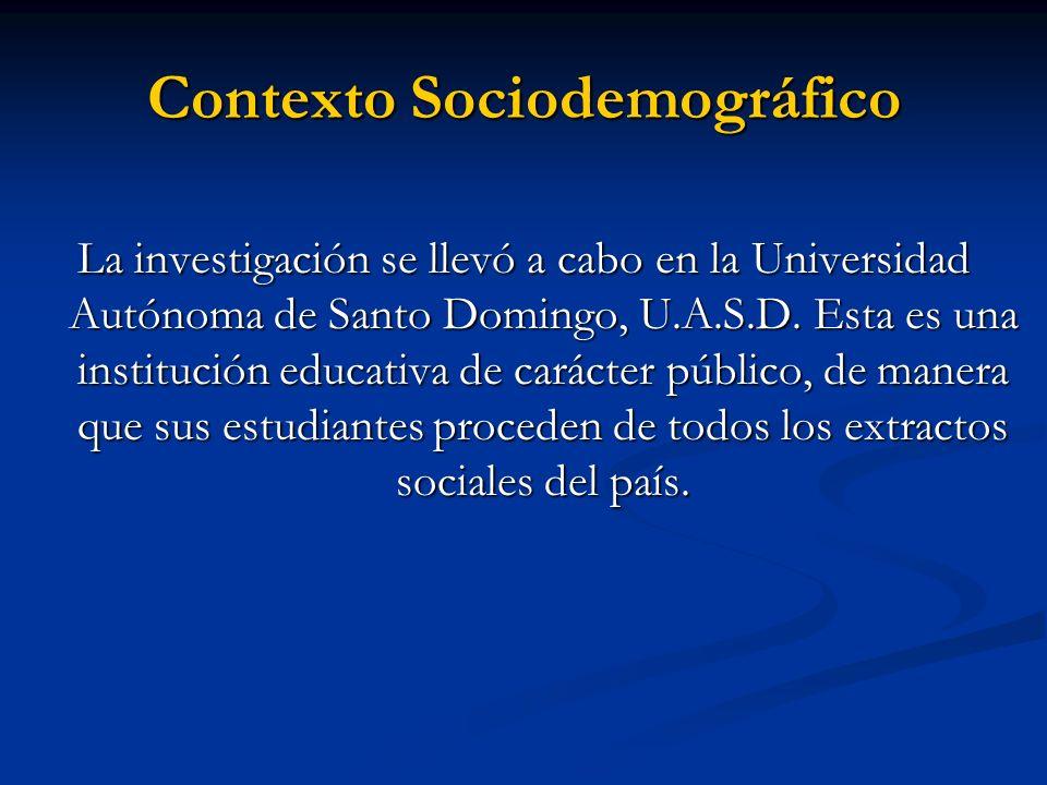 Contexto Sociodemográfico La investigación se llevó a cabo en la Universidad Autónoma de Santo Domingo, U.A.S.D. Esta es una institución educativa de