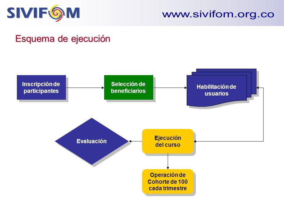 Esquema de ejecución Inscripción de participantes Selección de beneficiarios Habilitación de usuarios Ejecución del curso Evaluación Operación de Coho