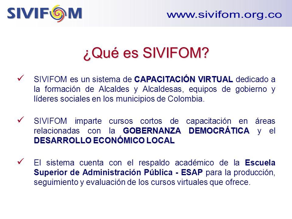 ¿Qué es SIVIFOM? CAPACITACIÓN VIRTUAL SIVIFOM es un sistema de CAPACITACIÓN VIRTUAL dedicado a la formación de Alcaldes y Alcaldesas, equipos de gobie
