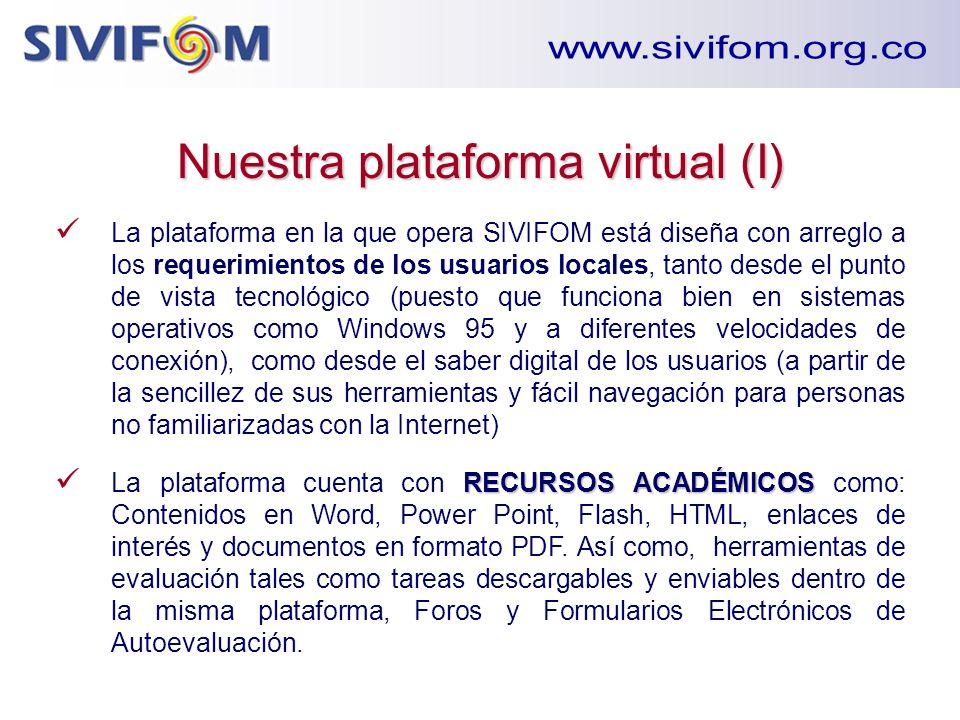 Nuestra plataforma virtual (I) La plataforma en la que opera SIVIFOM está diseña con arreglo a los requerimientos de los usuarios locales, tanto desde