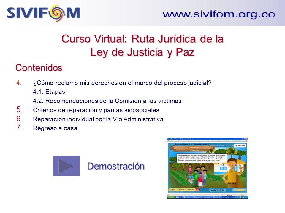 Curso Virtual: Ruta Jurídica de la Ley de Justicia y Paz Contenidos 4. ¿Cómo reclamo mis derechos en el marco del proceso judicial? 4.1. Etapas 4.2. R