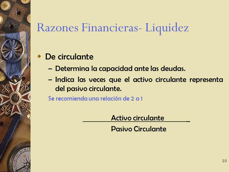 10 Razones Financieras- Liquidez De circulante – Determina la capacidad ante las deudas.