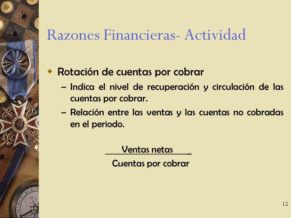 12 Razones Financieras- Actividad Rotación de cuentas por cobrar – Indica el nivel de recuperación y circulación de las cuentas por cobrar.