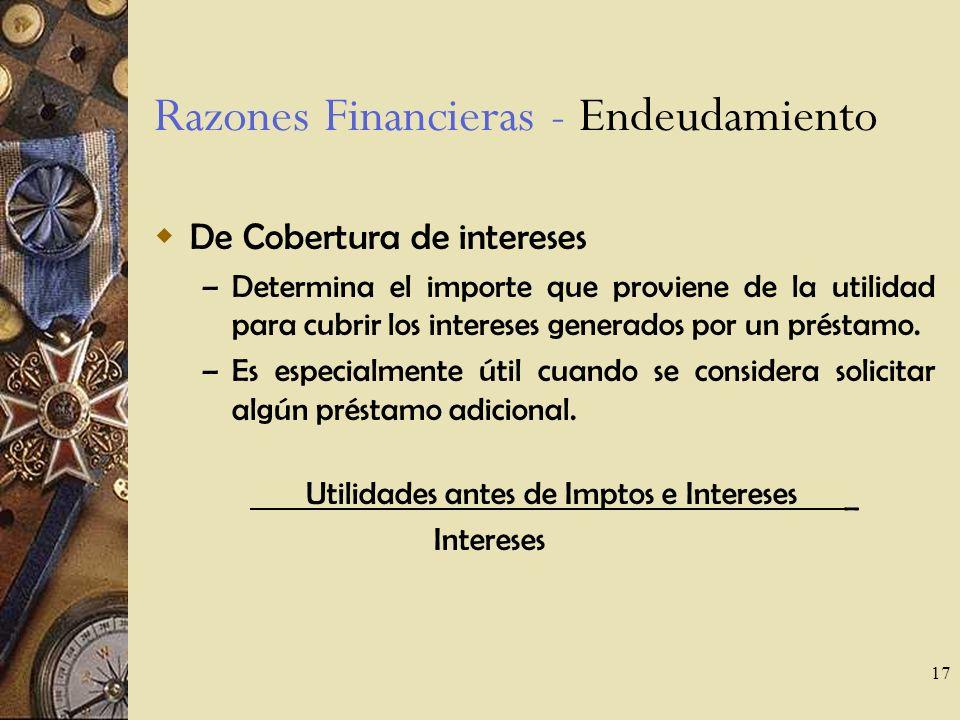 17 Razones Financieras - Endeudamiento De Cobertura de intereses – Determina el importe que proviene de la utilidad para cubrir los intereses generados por un préstamo.