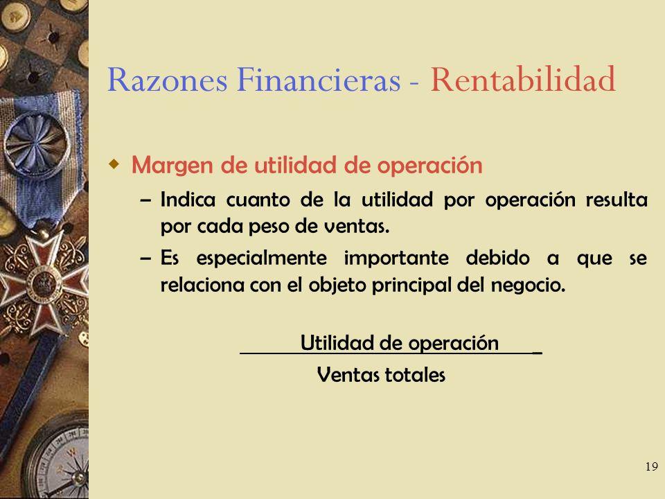 19 Razones Financieras - Rentabilidad Margen de utilidad de operación – Indica cuanto de la utilidad por operación resulta por cada peso de ventas.