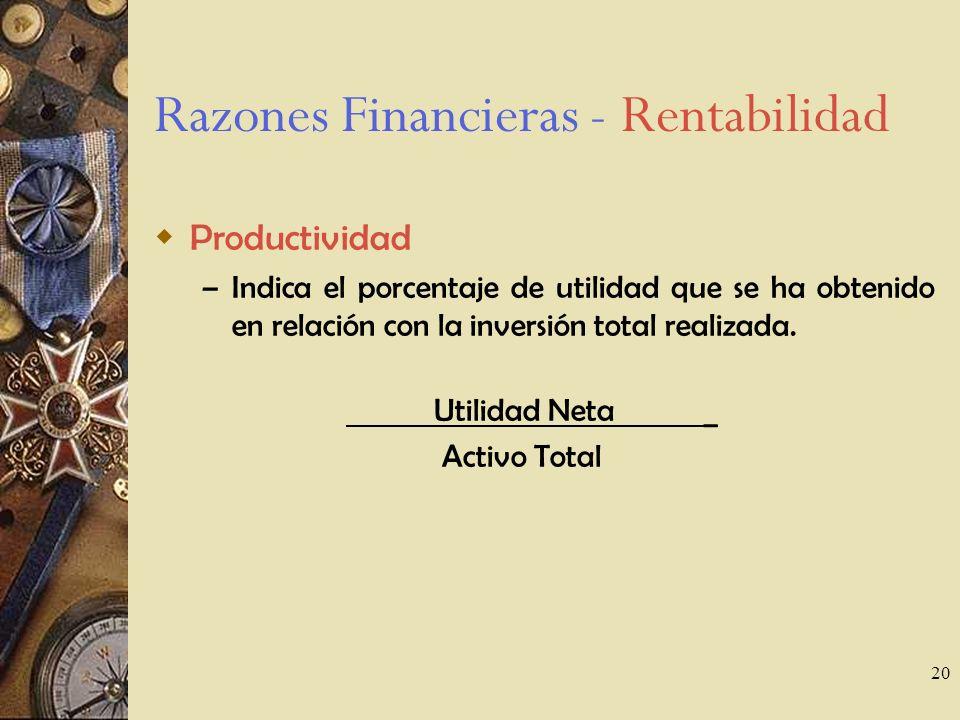 20 Razones Financieras - Rentabilidad Productividad – Indica el porcentaje de utilidad que se ha obtenido en relación con la inversión total realizada.