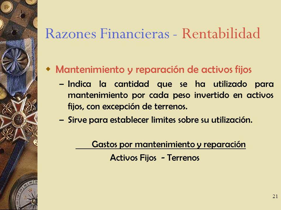21 Razones Financieras - Rentabilidad Mantenimiento y reparación de activos fijos – Indica la cantidad que se ha utilizado para mantenimiento por cada peso invertido en activos fijos, con excepción de terrenos.