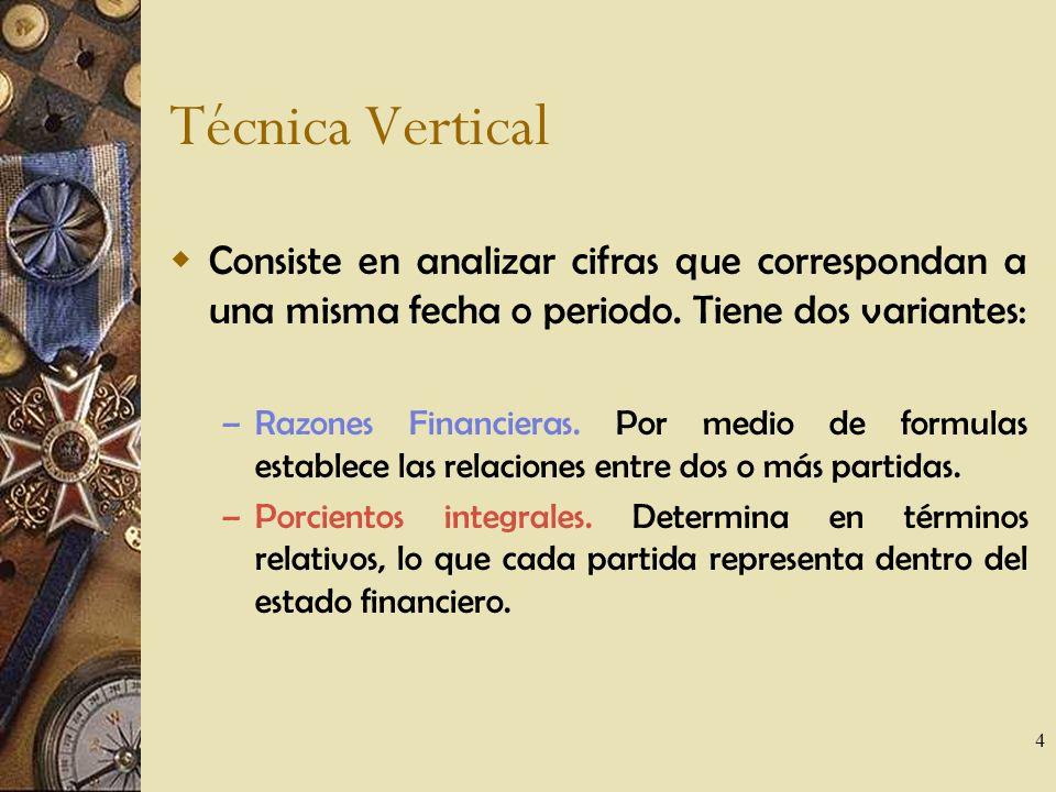 4 Técnica Vertical Consiste en analizar cifras que correspondan a una misma fecha o periodo.