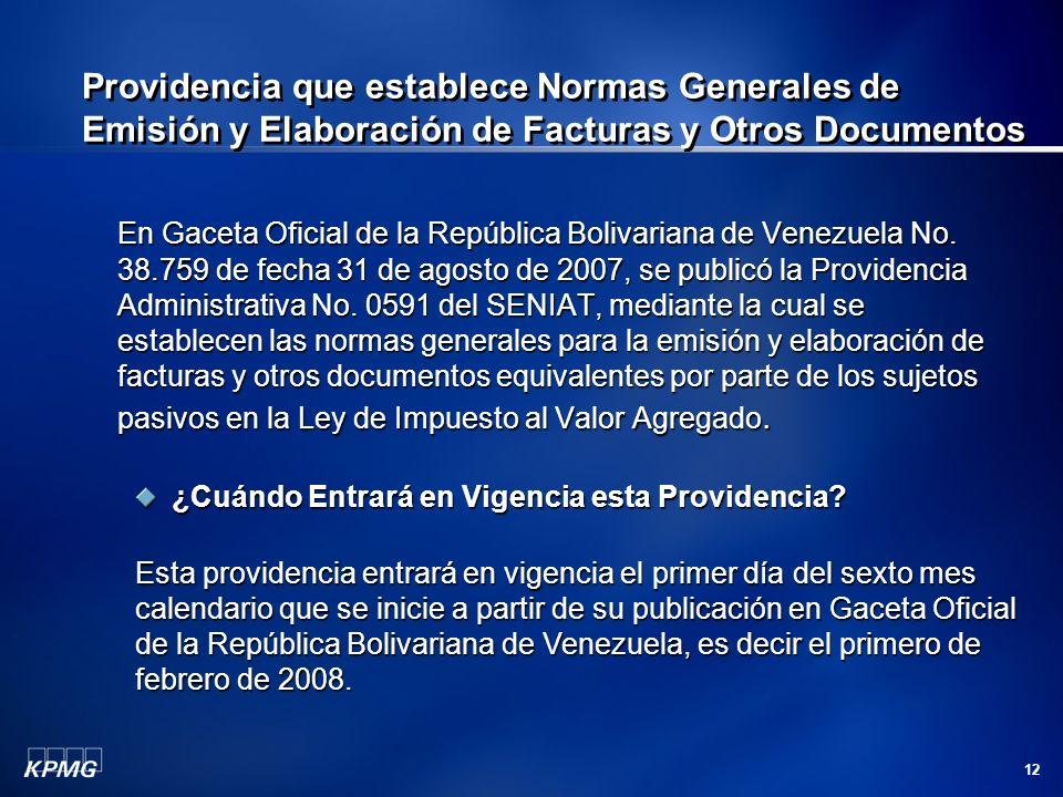 12 Providencia que establece Normas Generales de Emisión y Elaboración de Facturas y Otros Documentos En Gaceta Oficial de la República Bolivariana de