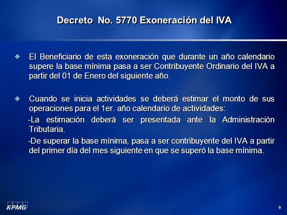 9 El Beneficiario de esta exoneración que durante un año calendario supere la base mínima pasa a ser Contribuyente Ordinario del IVA a partir del 01 d