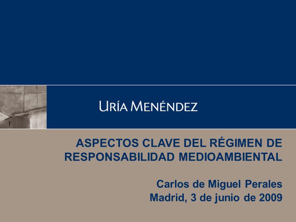 ASPECTOS CLAVE DEL RÉGIMEN DE RESPONSABILIDAD MEDIOAMBIENTAL Carlos de Miguel Perales Madrid, 3 de junio de 2009