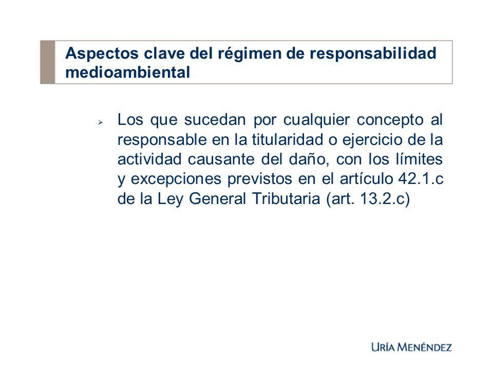 Los que sucedan por cualquier concepto al responsable en la titularidad o ejercicio de la actividad causante del daño, con los límites y excepciones previstos en el artículo 42.1.c de la Ley General Tributaria (art.