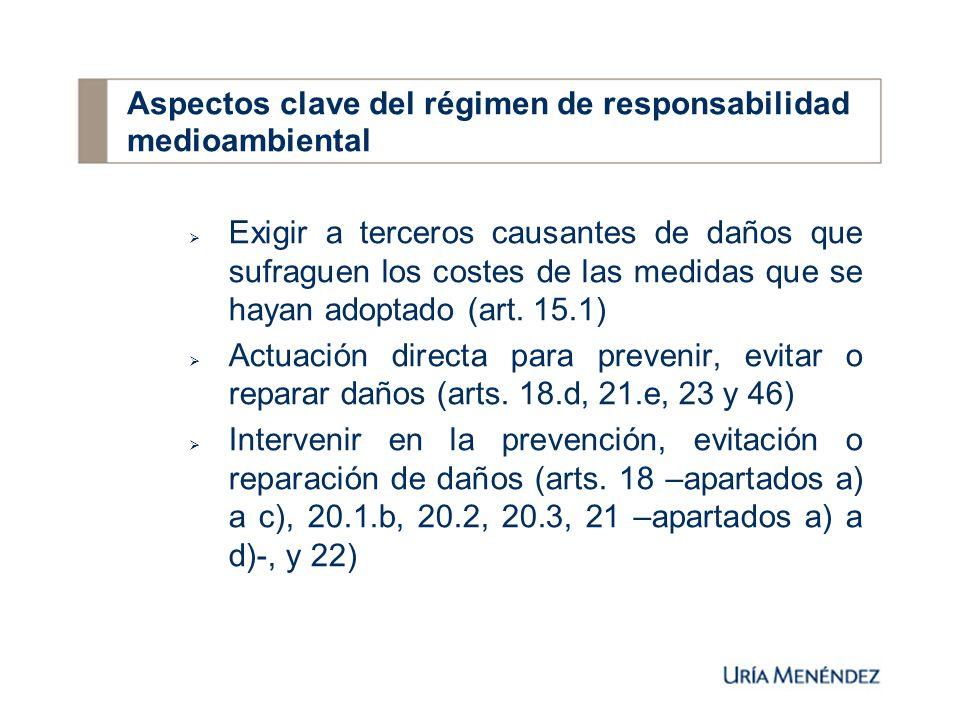Exigir a terceros causantes de daños que sufraguen los costes de las medidas que se hayan adoptado (art.