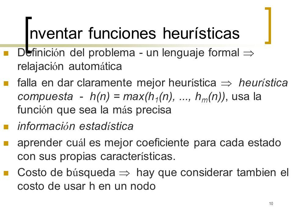 10 Inventar funciones heurísticas Definici ó n del problema - un lenguaje formal relajaci ó n autom á tica falla en dar claramente mejor heur í stica