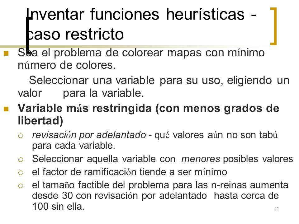 11 Inventar funciones heurísticas - caso restricto Sea el problema de colorear mapas con m í nimo n ú mero de colores. Seleccionar una variable para s