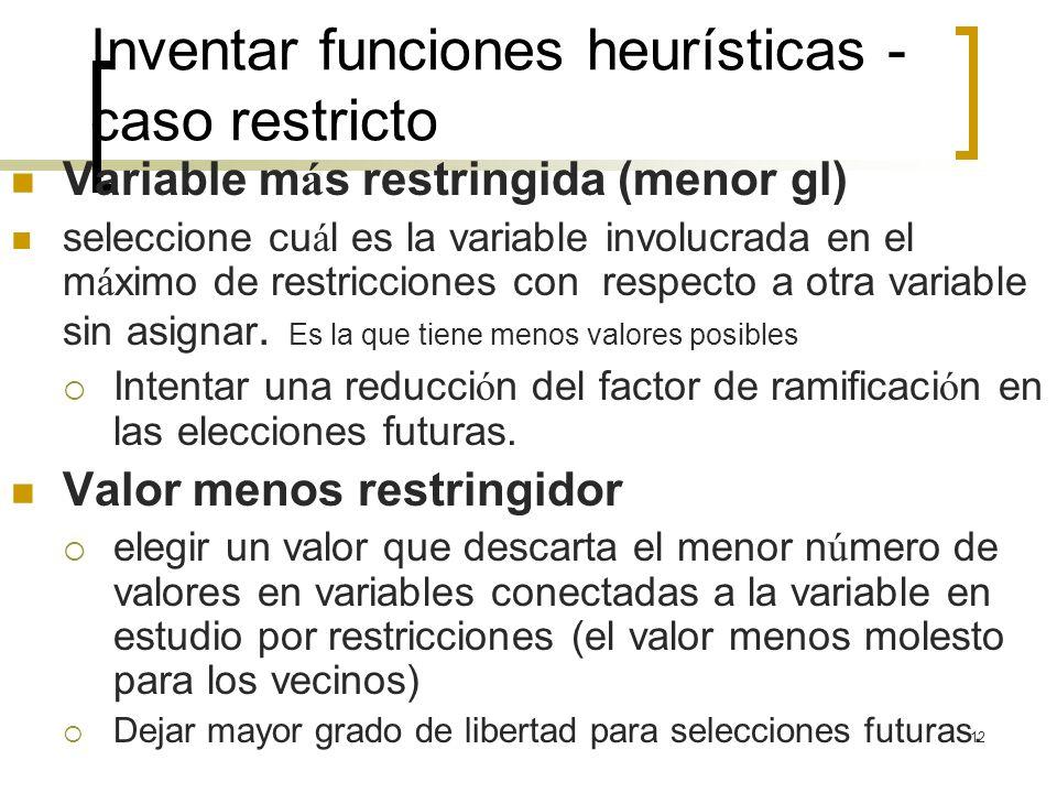 12 Inventar funciones heurísticas - caso restricto Variable m á s restringida (menor gl) seleccione cu á l es la variable involucrada en el m á ximo d