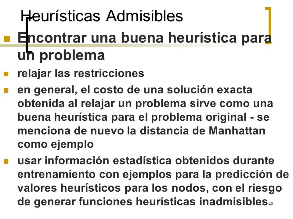 13 Heurísticas Admisibles Encontrar una buena heurística para un problema relajar las restricciones en general, el costo de una solución exacta obteni