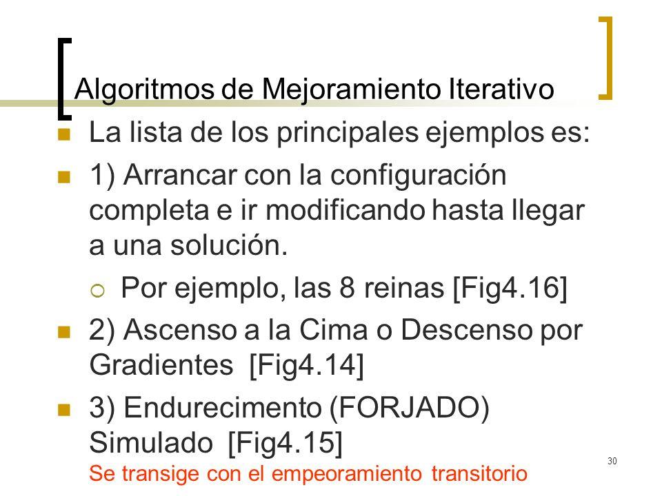 30 Algoritmos de Mejoramiento Iterativo La lista de los principales ejemplos es: 1) Arrancar con la configuración completa e ir modificando hasta lleg