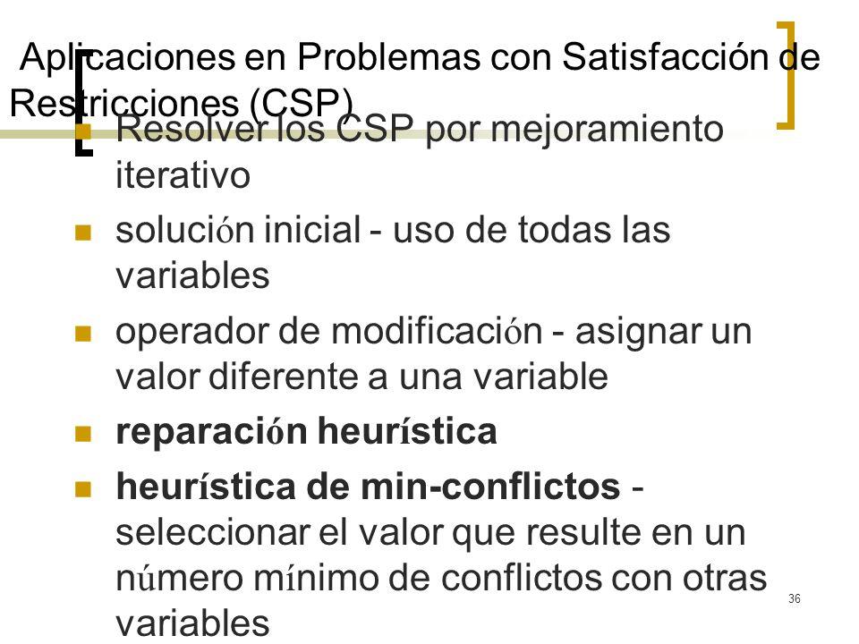 36 Aplicaciones en Problemas con Satisfacción de Restricciones (CSP) Resolver los CSP por mejoramiento iterativo soluci ó n inicial - uso de todas las