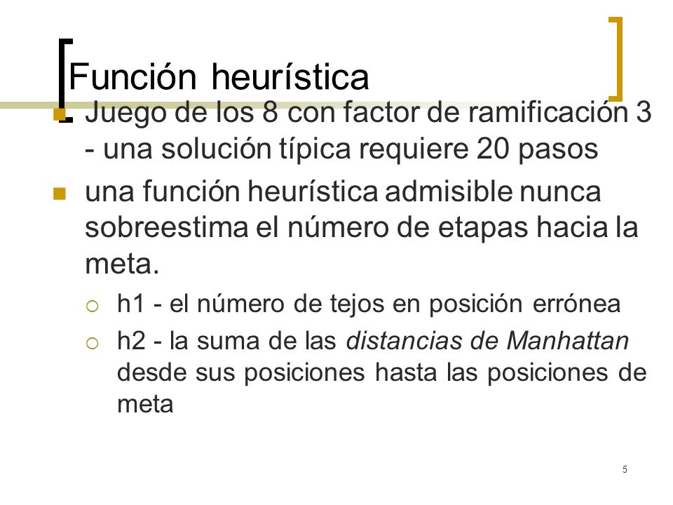 5 Función heurística Juego de los 8 con factor de ramificación 3 - una solución típica requiere 20 pasos una función heurística admisible nunca sobree