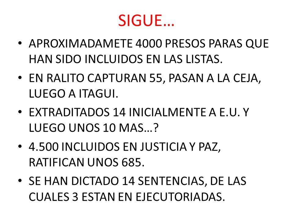 SIGUE… APROXIMADAMETE 4000 PRESOS PARAS QUE HAN SIDO INCLUIDOS EN LAS LISTAS. EN RALITO CAPTURAN 55, PASAN A LA CEJA, LUEGO A ITAGUI. EXTRADITADOS 14