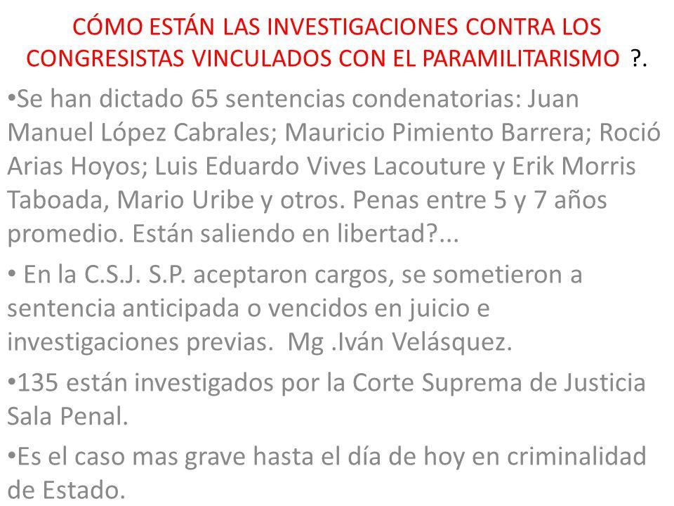 CÓMO ESTÁN LAS INVESTIGACIONES CONTRA LOS CONGRESISTAS VINCULADOS CON EL PARAMILITARISMO ?. Se han dictado 65 sentencias condenatorias: Juan Manuel Ló