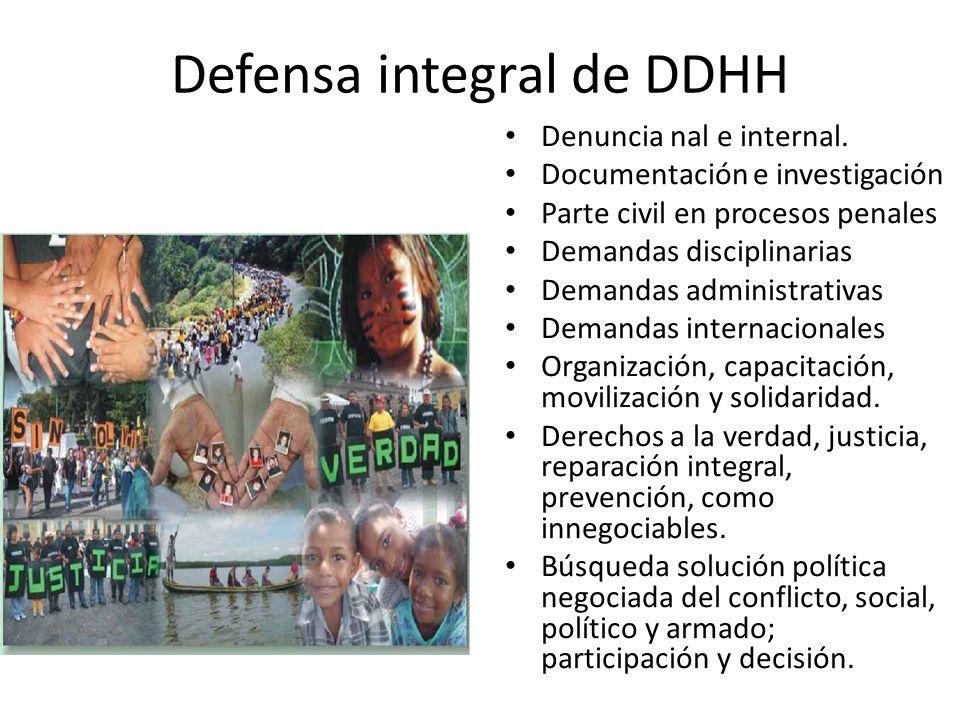 Defensa integral de DDHH Denuncia nal e internal. Documentación e investigación Parte civil en procesos penales Demandas disciplinarias Demandas admin
