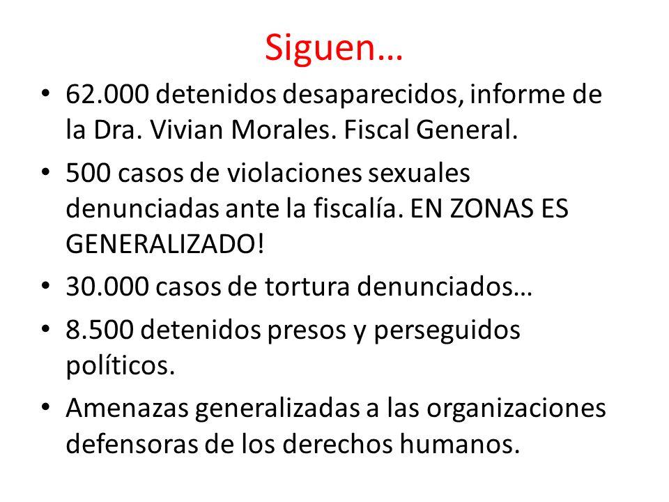 Siguen… 62.000 detenidos desaparecidos, informe de la Dra. Vivian Morales. Fiscal General. 500 casos de violaciones sexuales denunciadas ante la fisca