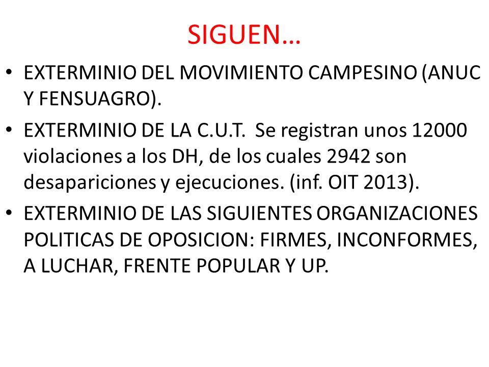 SIGUEN… EXTERMINIO DEL MOVIMIENTO CAMPESINO (ANUC Y FENSUAGRO). EXTERMINIO DE LA C.U.T. Se registran unos 12000 violaciones a los DH, de los cuales 29