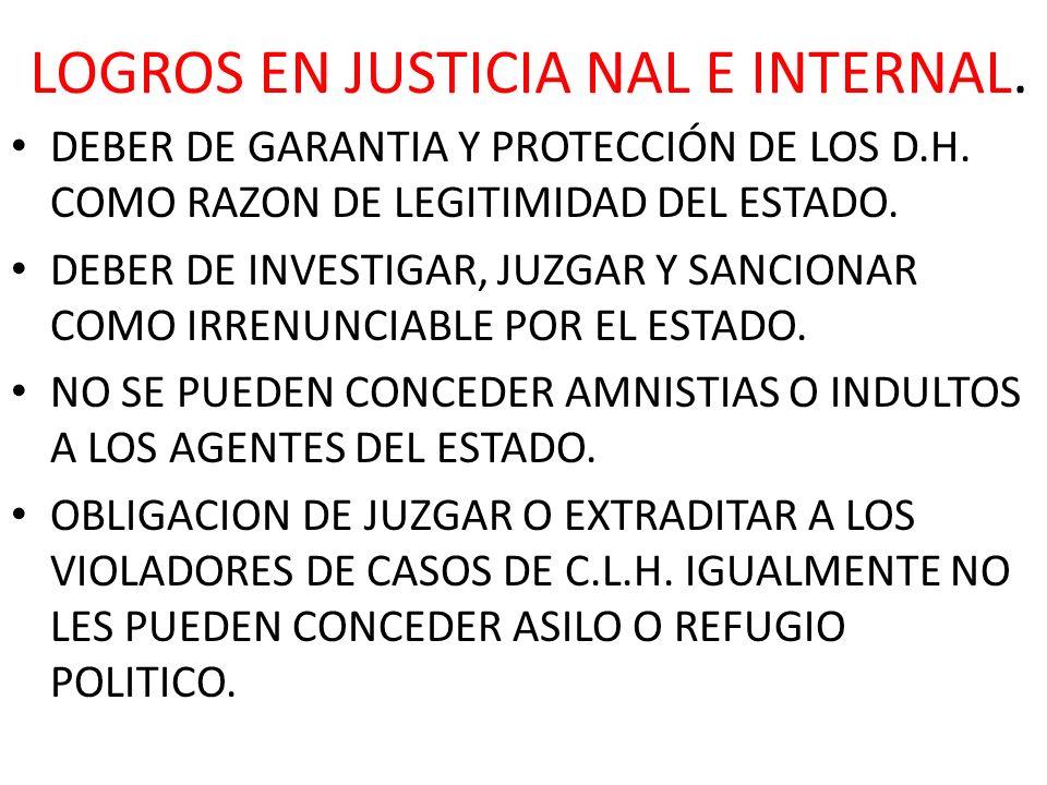 LOGROS EN JUSTICIA NAL E INTERNAL. DEBER DE GARANTIA Y PROTECCIÓN DE LOS D.H. COMO RAZON DE LEGITIMIDAD DEL ESTADO. DEBER DE INVESTIGAR, JUZGAR Y SANC