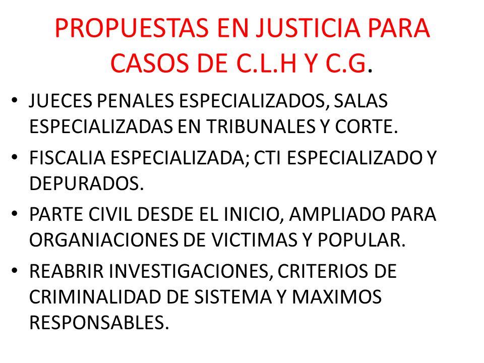 PROPUESTAS EN JUSTICIA PARA CASOS DE C.L.H Y C.G. JUECES PENALES ESPECIALIZADOS, SALAS ESPECIALIZADAS EN TRIBUNALES Y CORTE. FISCALIA ESPECIALIZADA; C