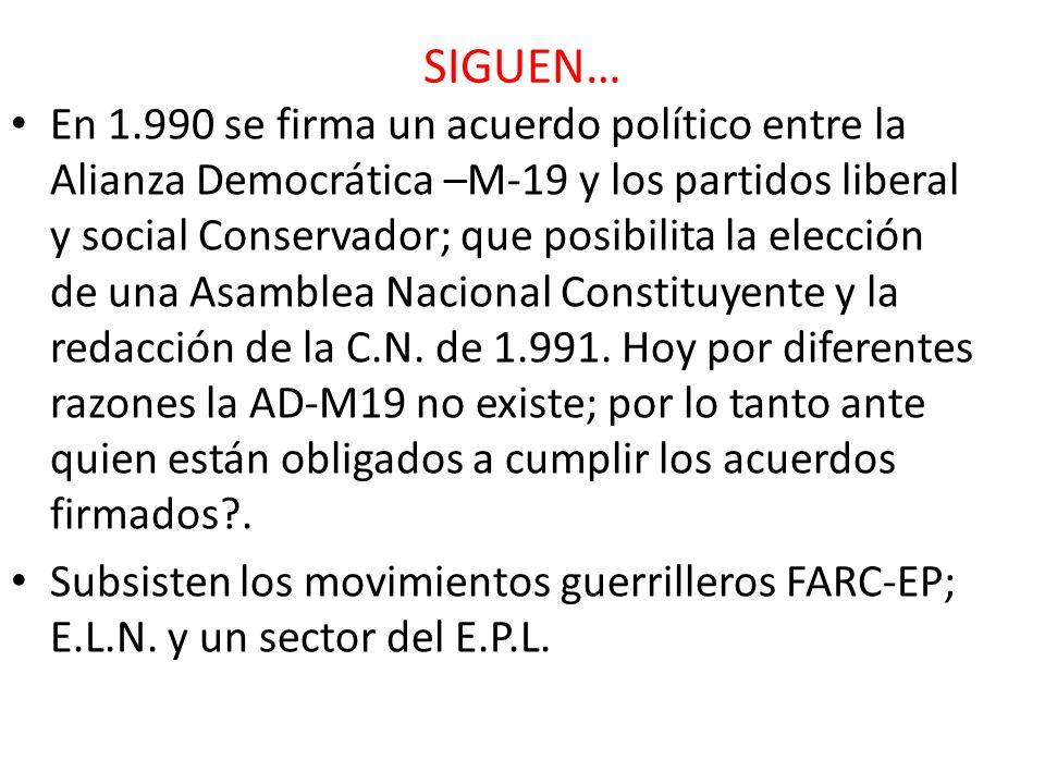 SIGUEN… En 1.990 se firma un acuerdo político entre la Alianza Democrática –M-19 y los partidos liberal y social Conservador; que posibilita la elecci