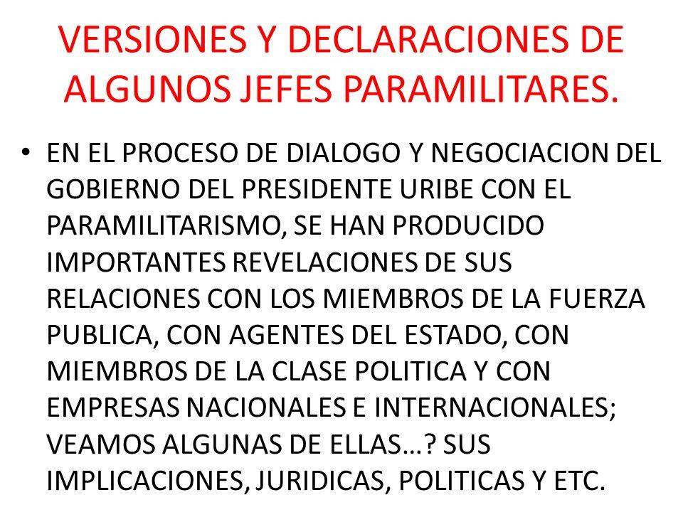 VERSIONES Y DECLARACIONES DE ALGUNOS JEFES PARAMILITARES. EN EL PROCESO DE DIALOGO Y NEGOCIACION DEL GOBIERNO DEL PRESIDENTE URIBE CON EL PARAMILITARI