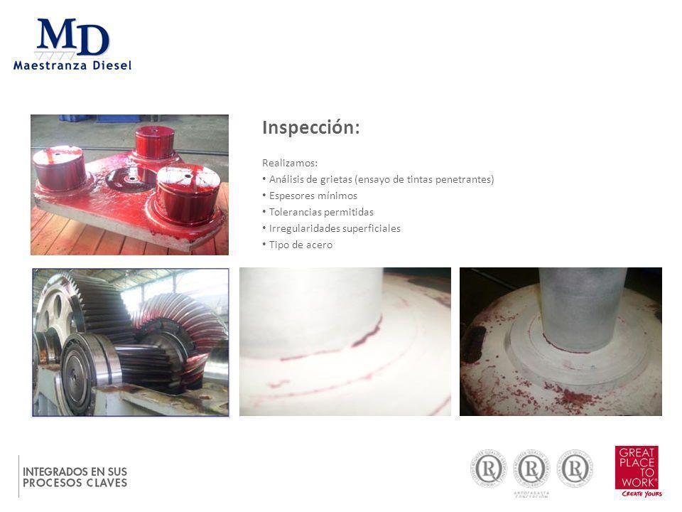 Inspección: Realizamos: Análisis de grietas (ensayo de tintas penetrantes) Espesores mínimos Tolerancias permitidas Irregularidades superficiales Tipo